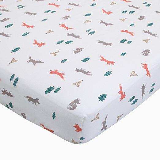 Carter's Fox Toss Cotton Sateen Crib Sheet, White, Orange