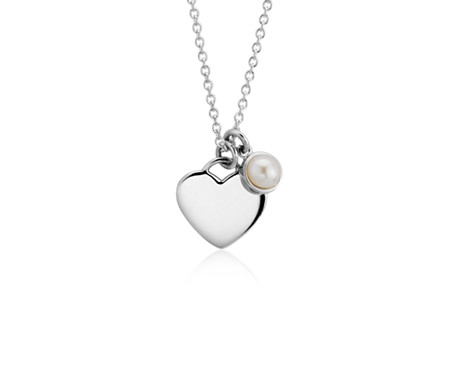 Pearl Birthstone Heart Pendant in Sterling Silver