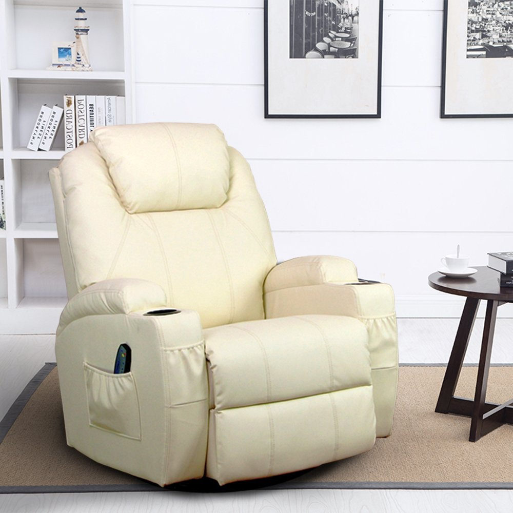 360 Degree Ergonomic Swivel Massage Recliner Leather Sofa Chair