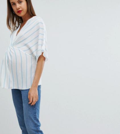 ASOS DESIGN Maternity Exclusive Twist Front Kimono Sleeve Top In Stripe