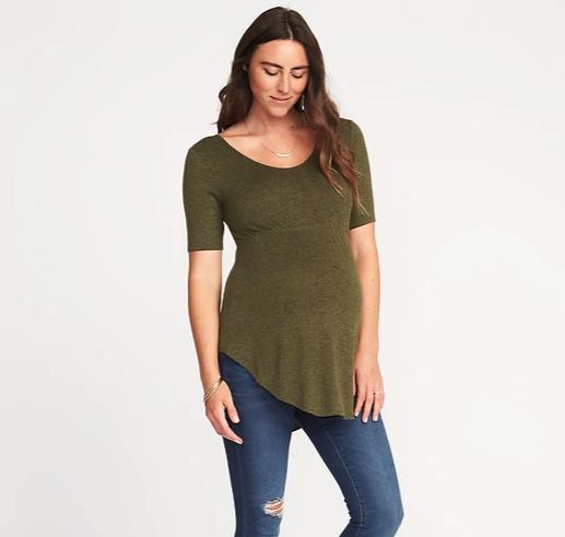 Maternity Plush-Knit Curved-Hem Tunic