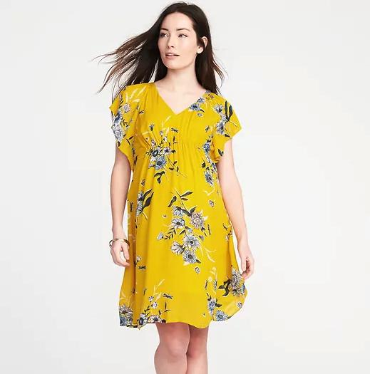 Maternity Ruffle-Sleeve Shift Dress