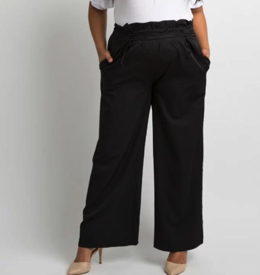 Black Lace-Up Accent Wide Leg Plus Maternity Pants