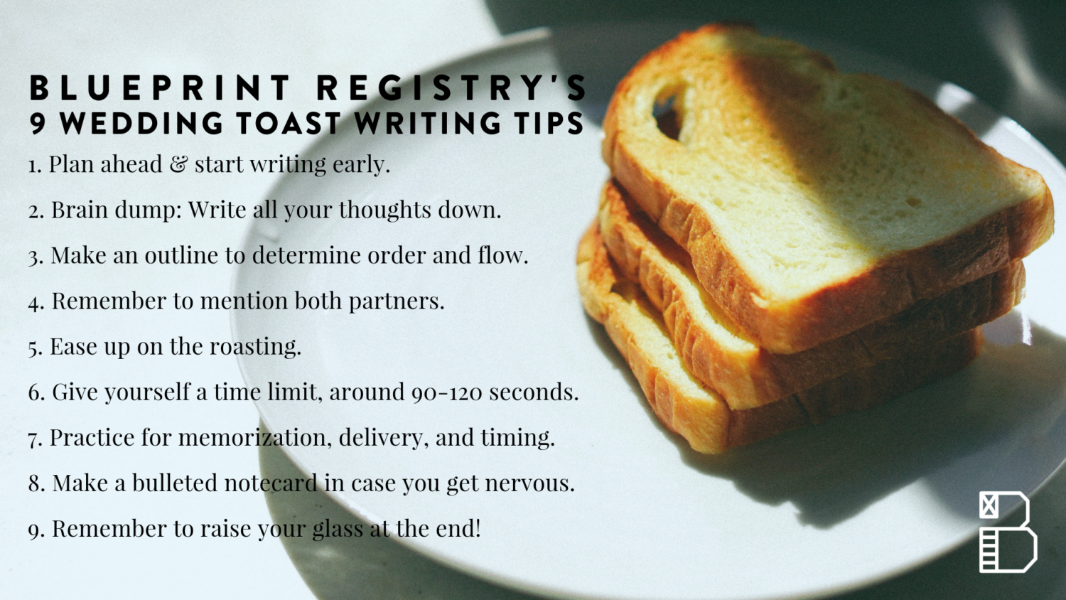 blueprint's tips for wedding toast writing