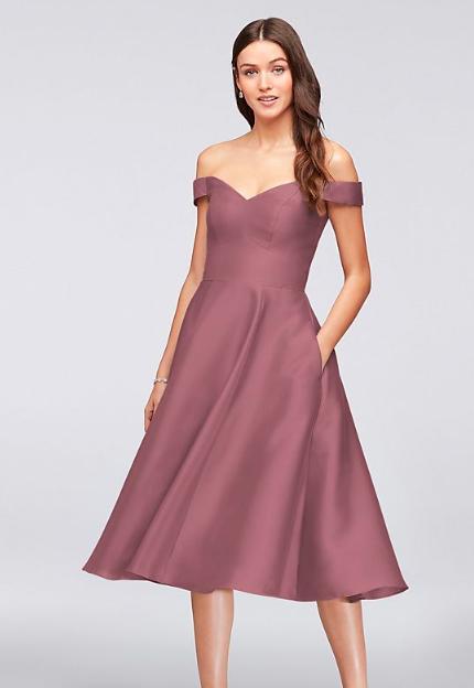 Off-the-Shoulder Tea-Length Bridesmaid Dress